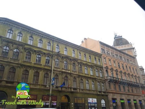 Colored buildings of Budapest