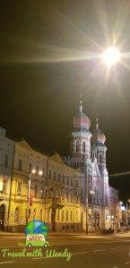 Synagogue at night in Pilsen