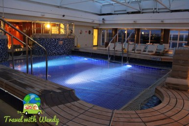 Pavilion pool at night on the cruise