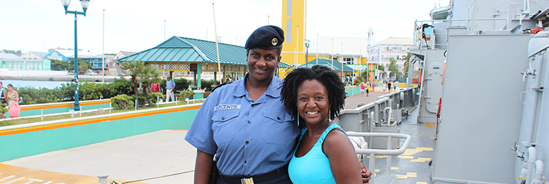Photo-with-Officer-Naval-Ship-Nassau-Bahamas-TravelXena