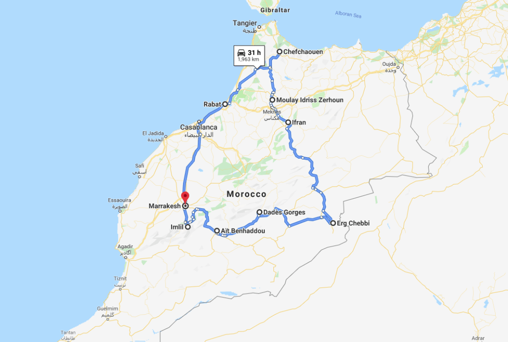 road trip route around Morocco