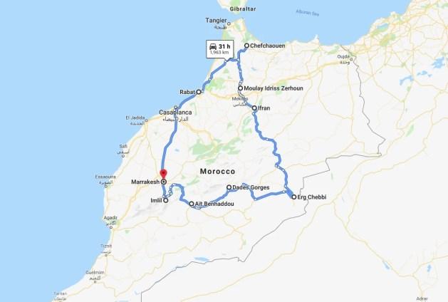 road trip route around Morocco
