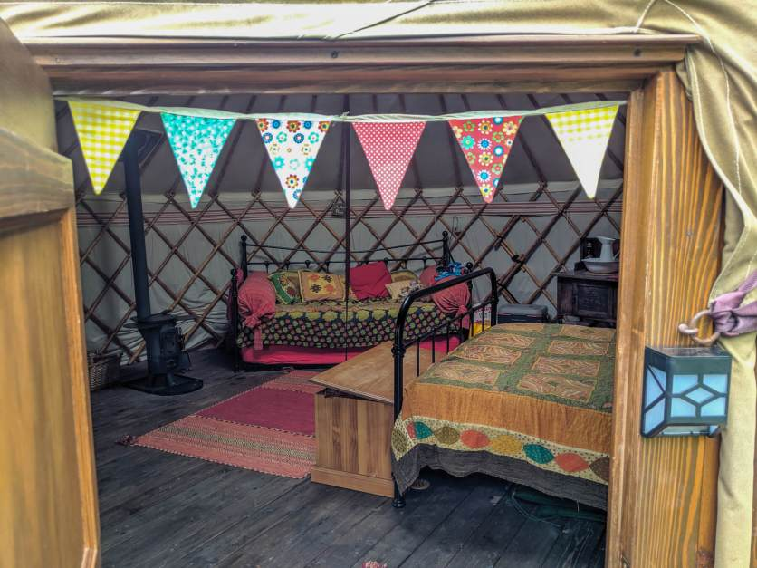 inside the yurt at Swallowtails