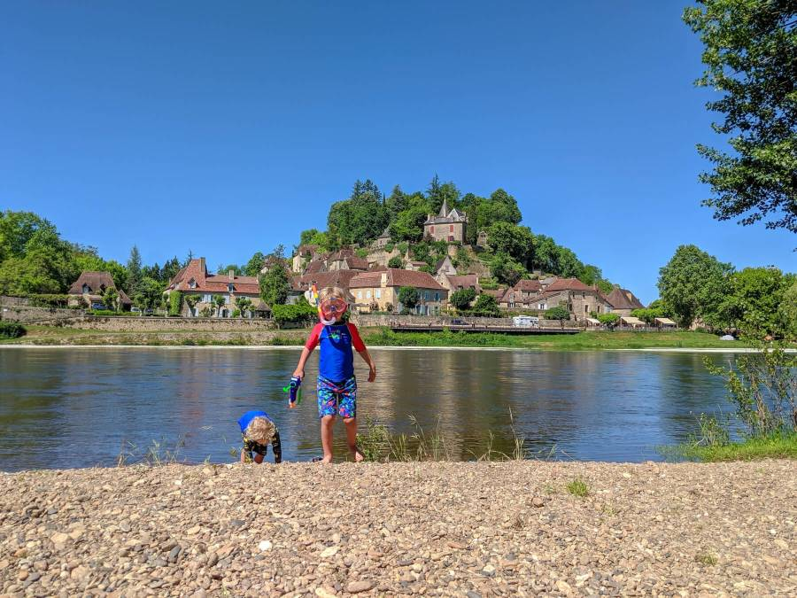 river beach in France and two boys