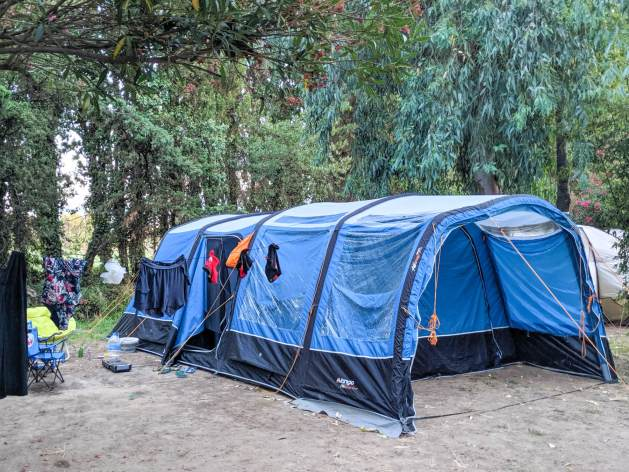 a blue family tent