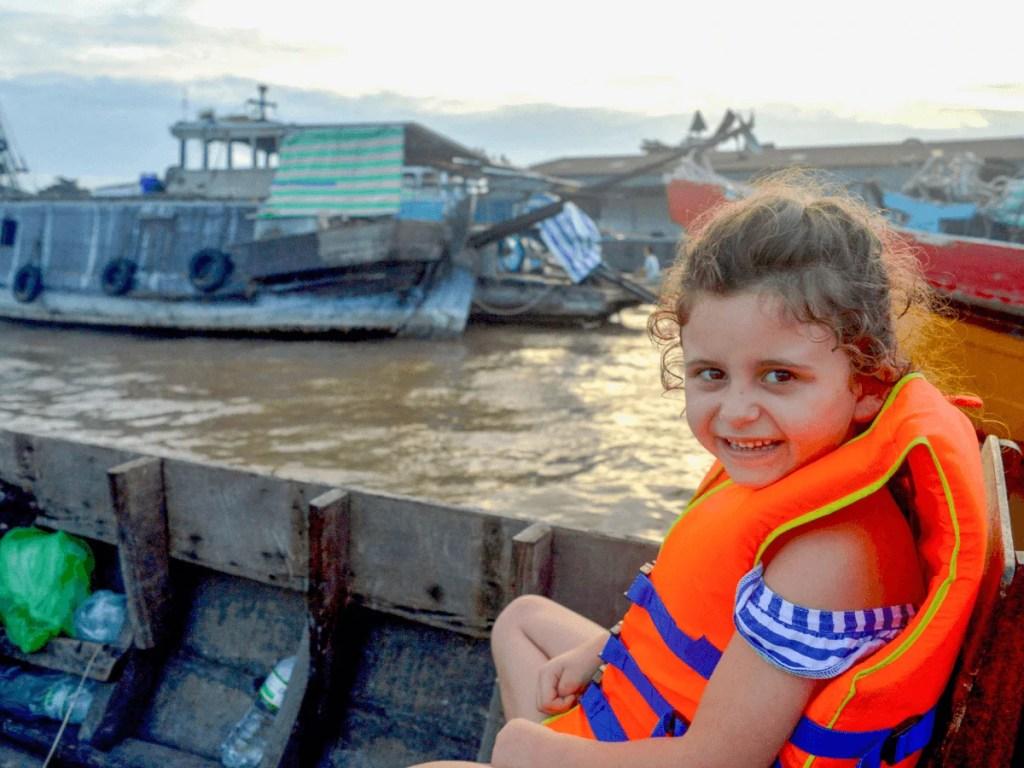 child at Cai Rang Floating Market