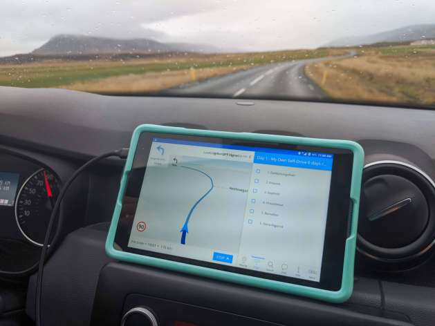 Hey Iceland tablet for North Iceland itinerary routing