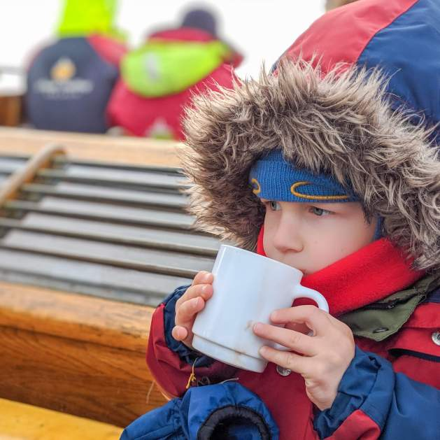 Hot chocolate onboard our Husavik whale watching tour