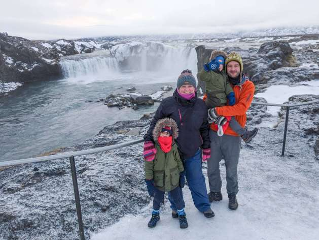 family at Goðafoss, North Iceland itinerary