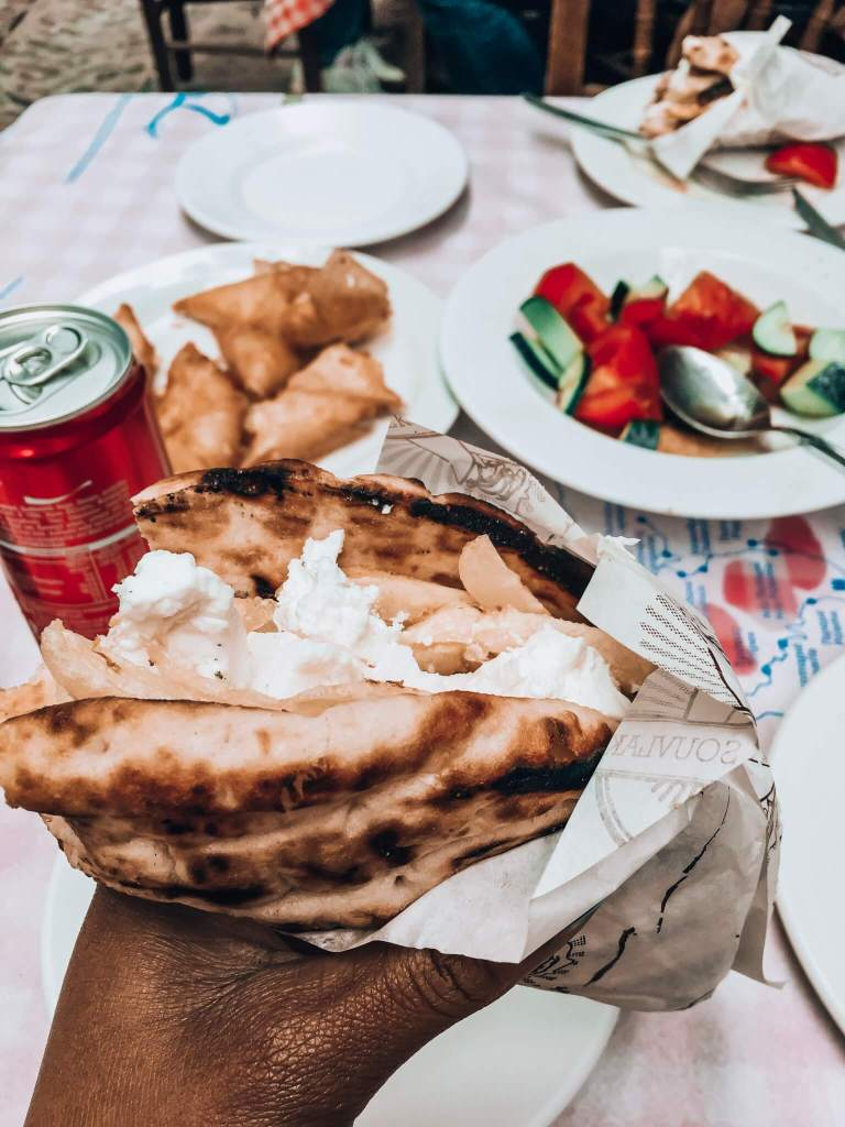 Chicken Gyro with feta cheese and fries, also a tomato and cucmber salad on my Chios Island visit with Alios Tours