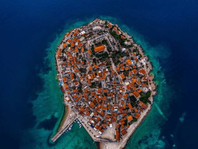 Top view of Croatian Islands