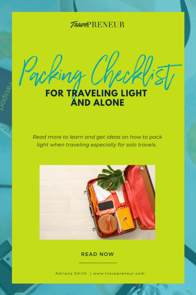 Packing Checklist for Traveling Light and Alone- Pin