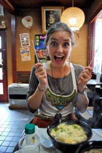 eating udon noodles