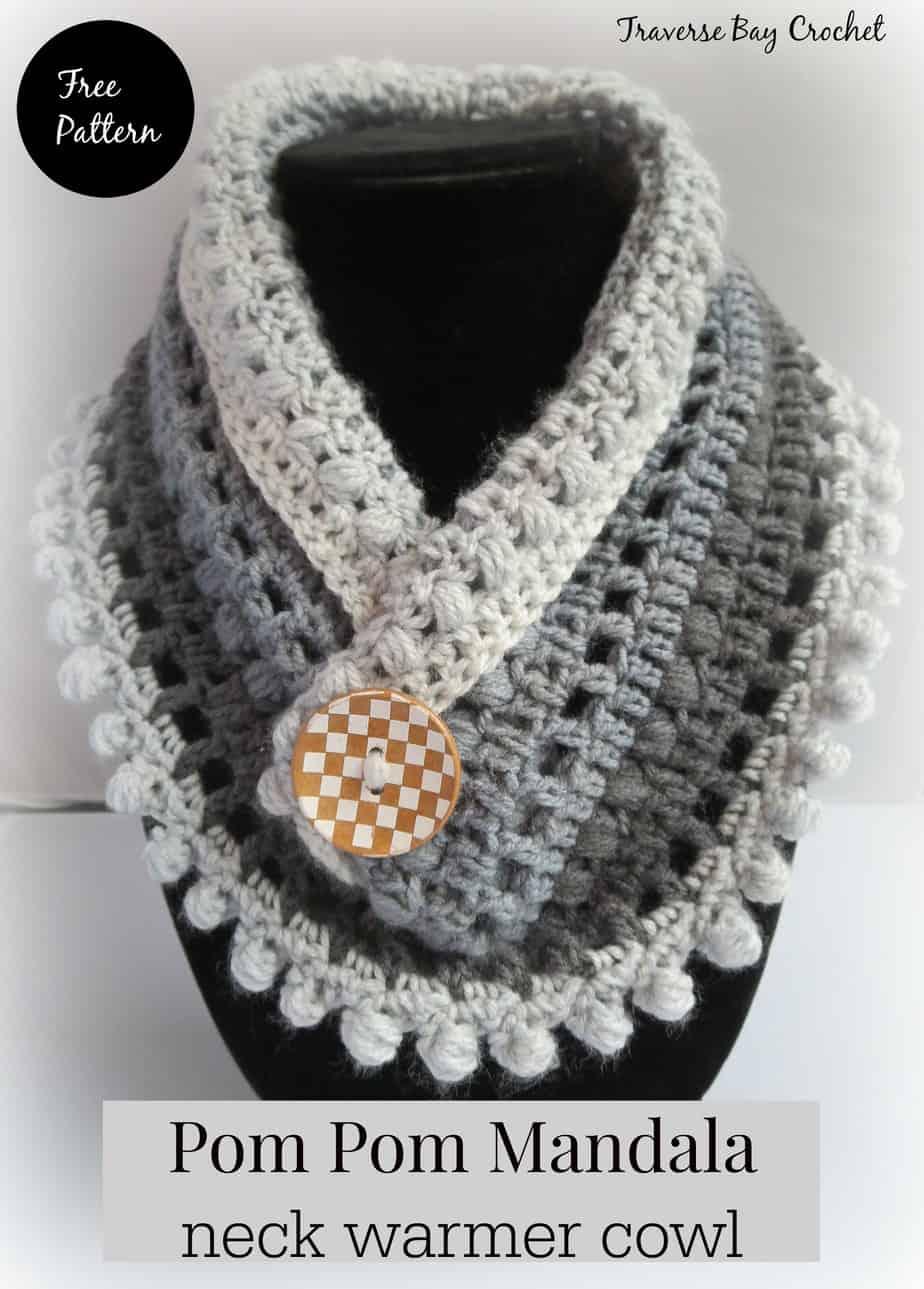 Crochet pom pom Mandela neck warmer |