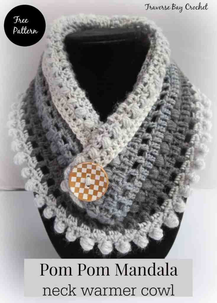 Crochet Pom Pom Mandela Neck Warmer