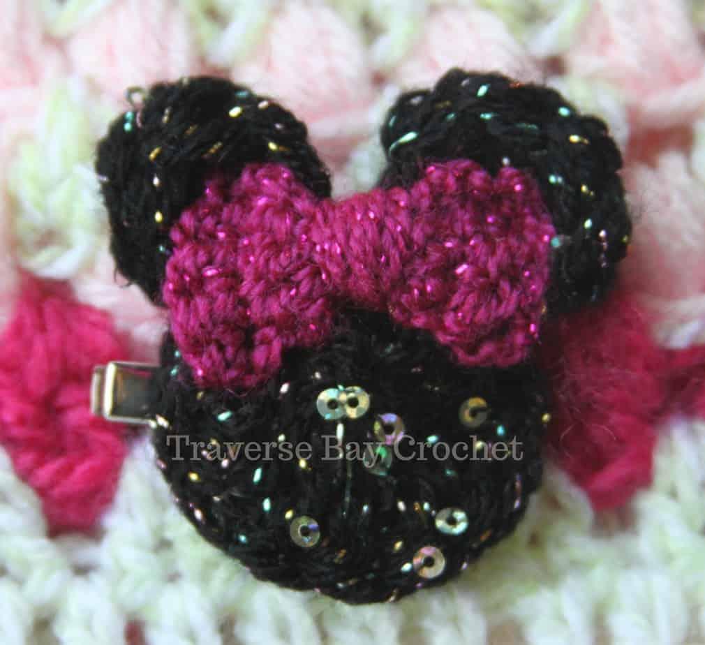 20 Min Crochet Minnie Mouse Hair Clip