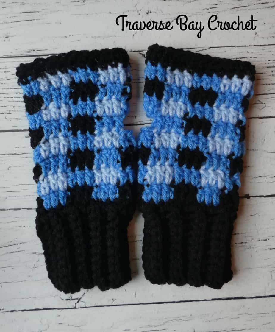 Crochet Plaid Fingerless Mittens