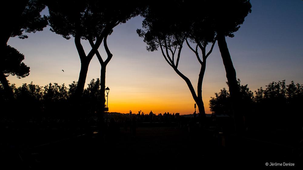 coucher de soleil à rome