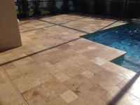 Walnut travertine Drop face pool coping tiles tumbled and ...