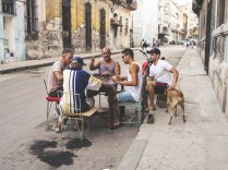 Men playing Domino on the street in Havana Centro