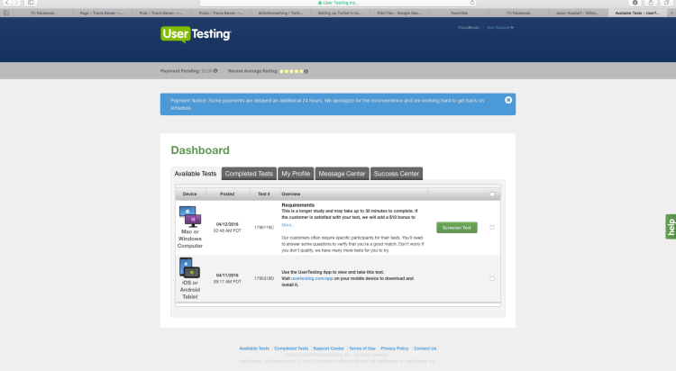 Usertesting.com Dashboard
