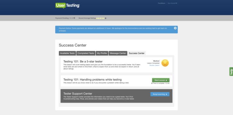 Usertesting.com Success Centre