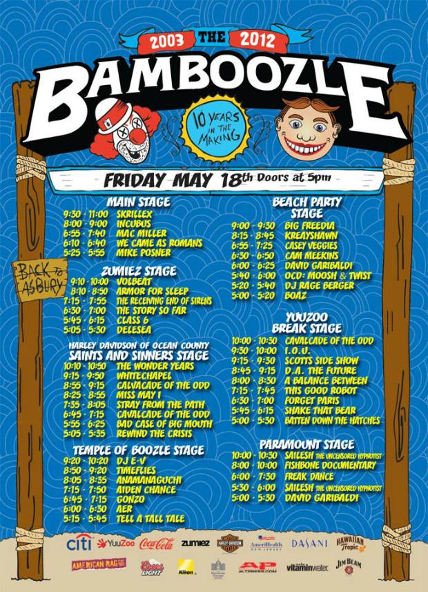 Bamboozle 2012 Friday set times