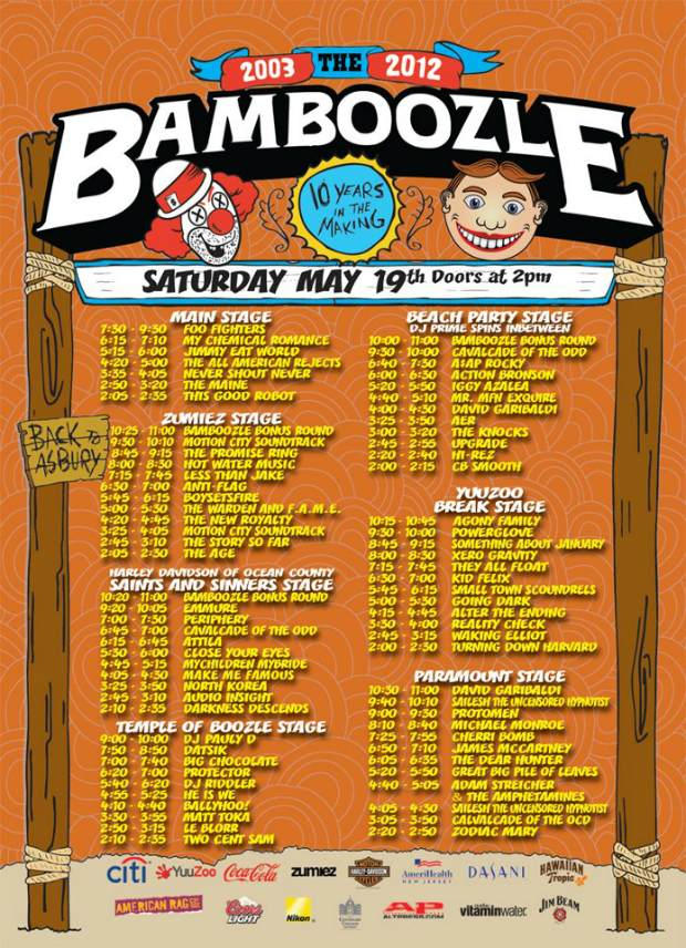 Bamboozle 2012 Saturday set times