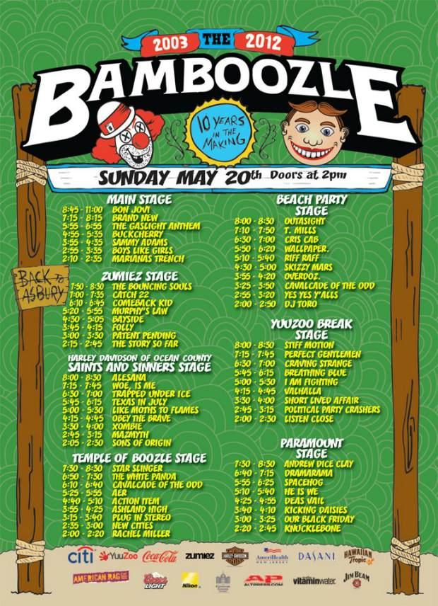 Bamboozle 2012 Sunday set times