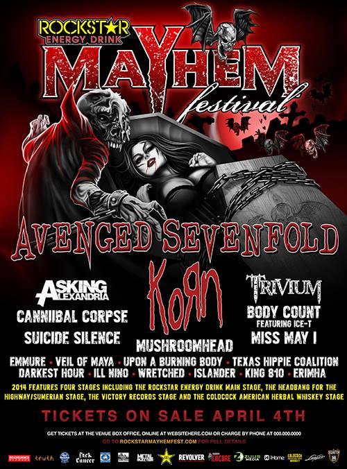 Avenged Sevenfold And Korn To Headline 2014 Mayhem Festival