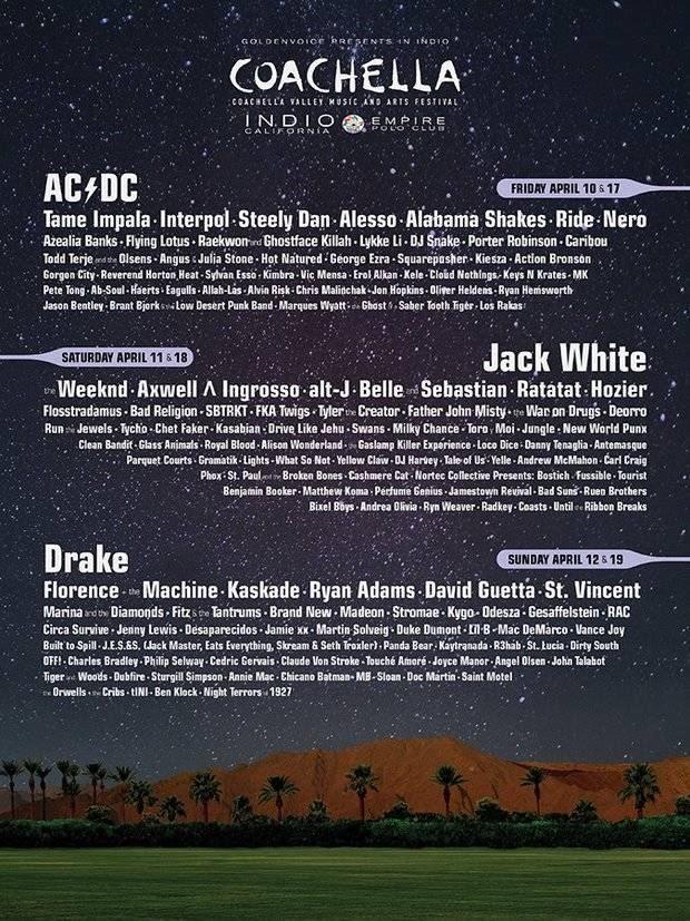 ACDC To Headline 2015 Coachella Festival With Jack White, Drake