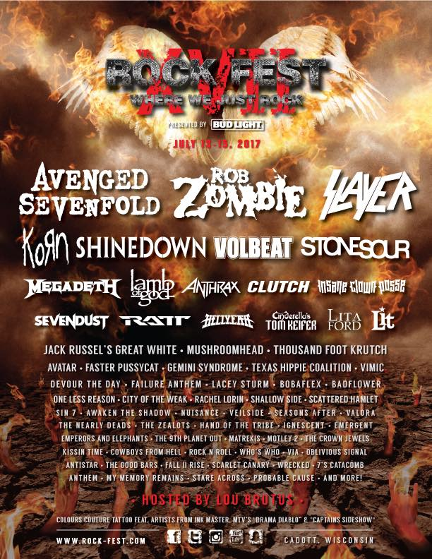 Avenged Sevenfold, Rob Zombie, Slayer To Headline 2017 Rock Fest
