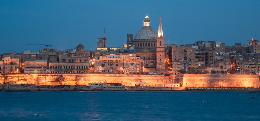 Valetta Malta at night searching for inspiration for my short stories