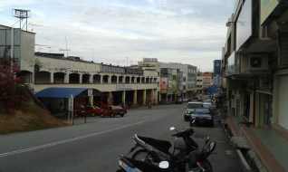A view of the bus station in Pulau Sebang town.