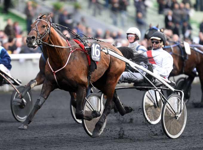 Tiego d'Etang med Charles Julien Bigeon vinder sikkert det første testløb til Prix d'Amerique. Foto Gerard Forni
