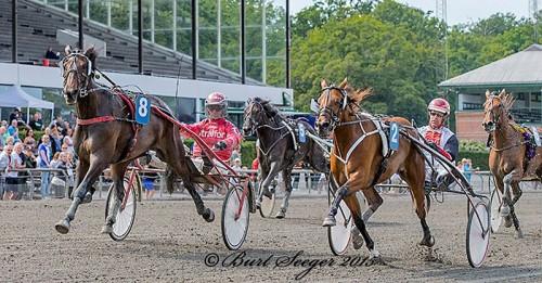 Whisper Line med Peter Untersteiner henviser Ups Simoni med Nicolaj Andersen til andenpladsen i Hoppe Prøven. Foto Burt Seeger