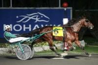 Resolve med Åke Svanstedt vandt sikkert . Foto Mohawk Raceway