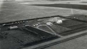 Aerial shot of the Trawin Seeds farm in 1951