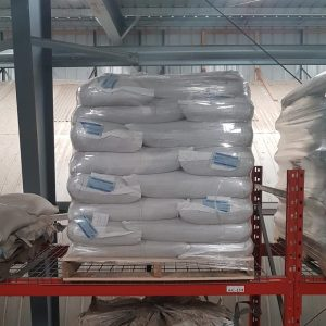 Pallet of custom grain bags with tags