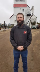 Mitch Trawin standing in front of the 1st Trawin Seeds cleaning plant