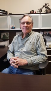 Ross Trawin sitting in his office at Trawin Seeds