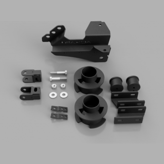 Kit #108010 – 2017-2021 Ford F250/F350/F450 Superduty 4×4 – 2.5″ Front Level Kit +Track Bar Bracket, Bumpstop, and Sway Bar Relocation Bracket