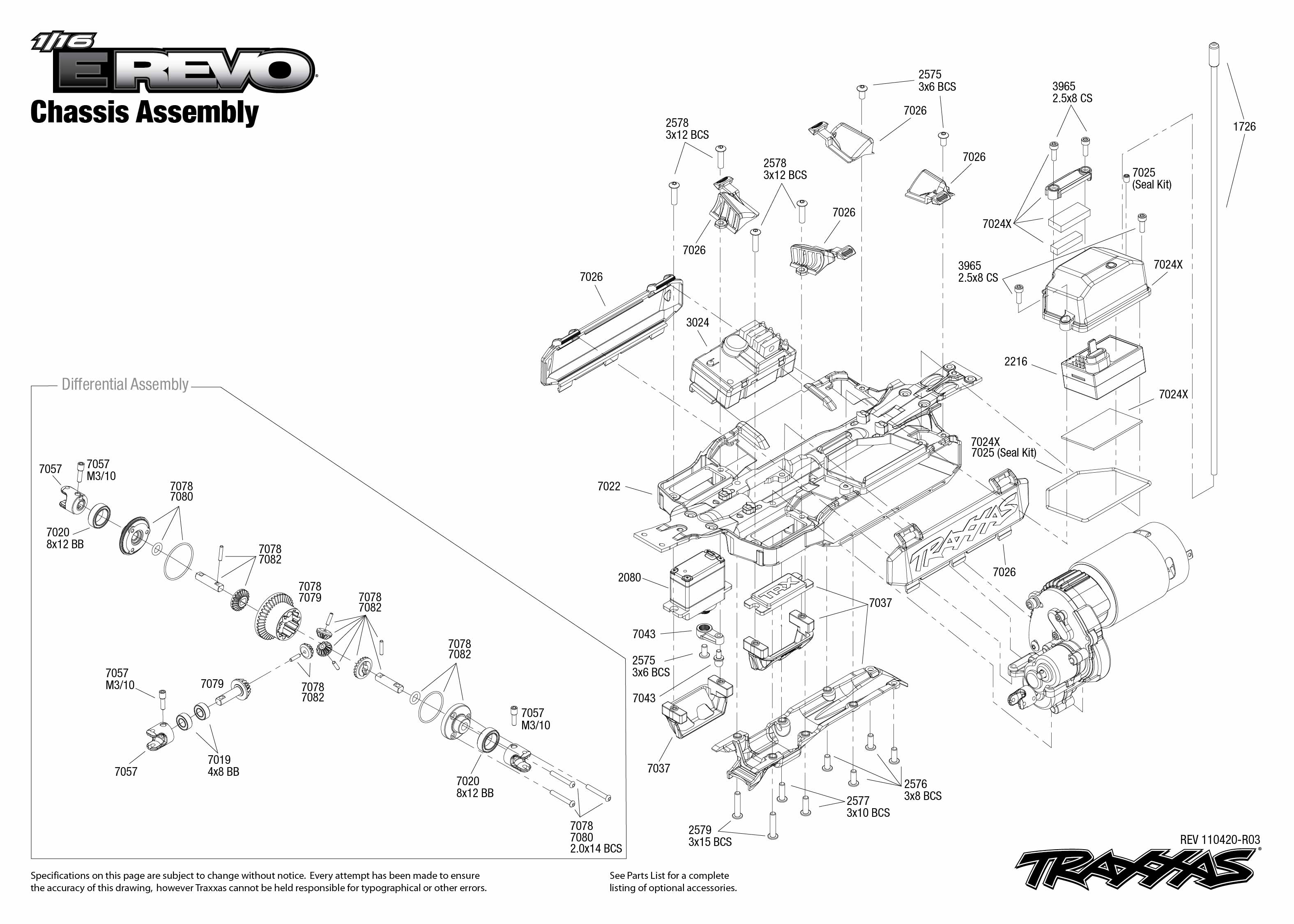 7105 Chassis Exploded View (1/16 E-Revo Brushed, w/ Titan