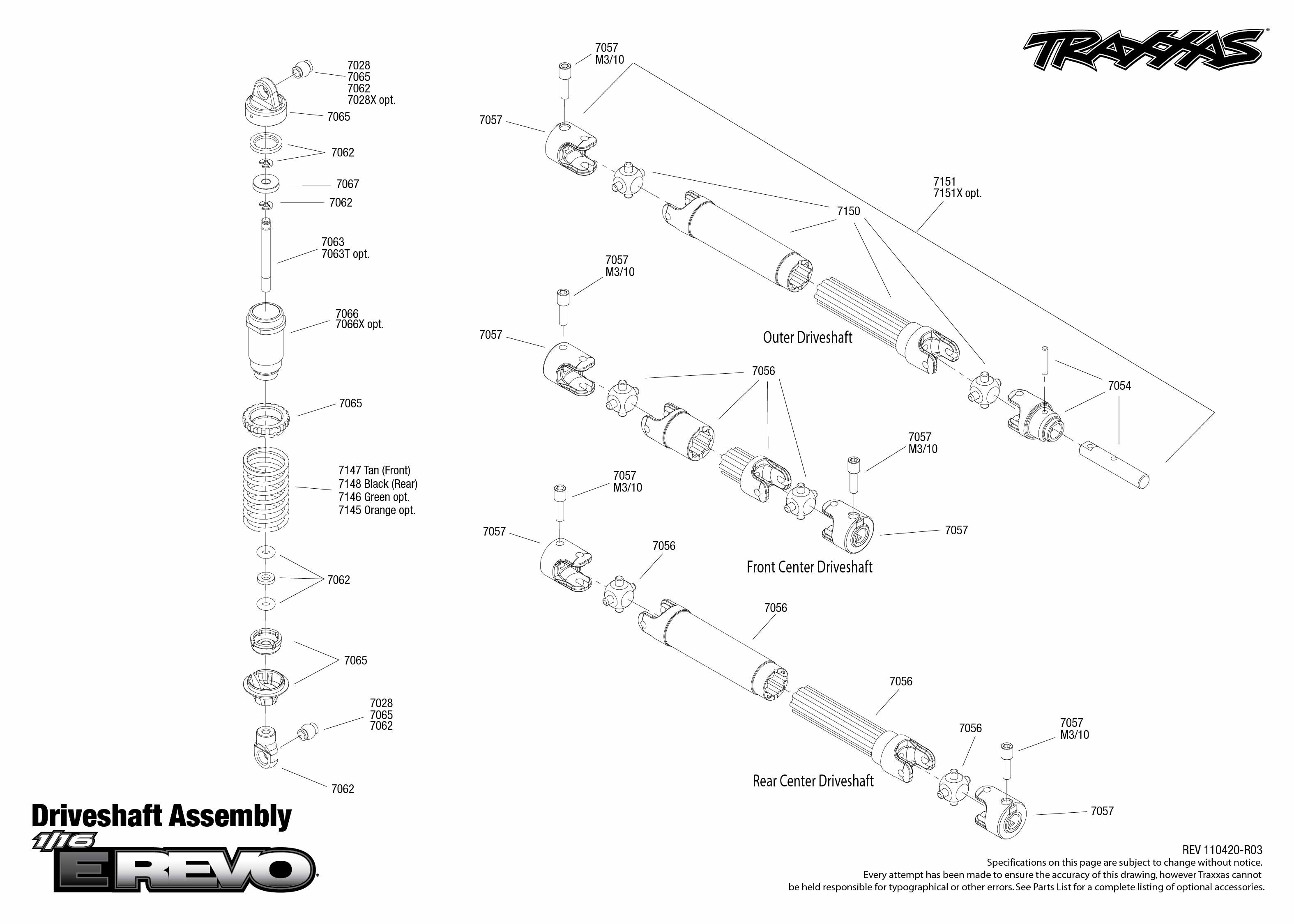 7105 Driveshafts Exploded View (1/16 E-Revo Brushed, w