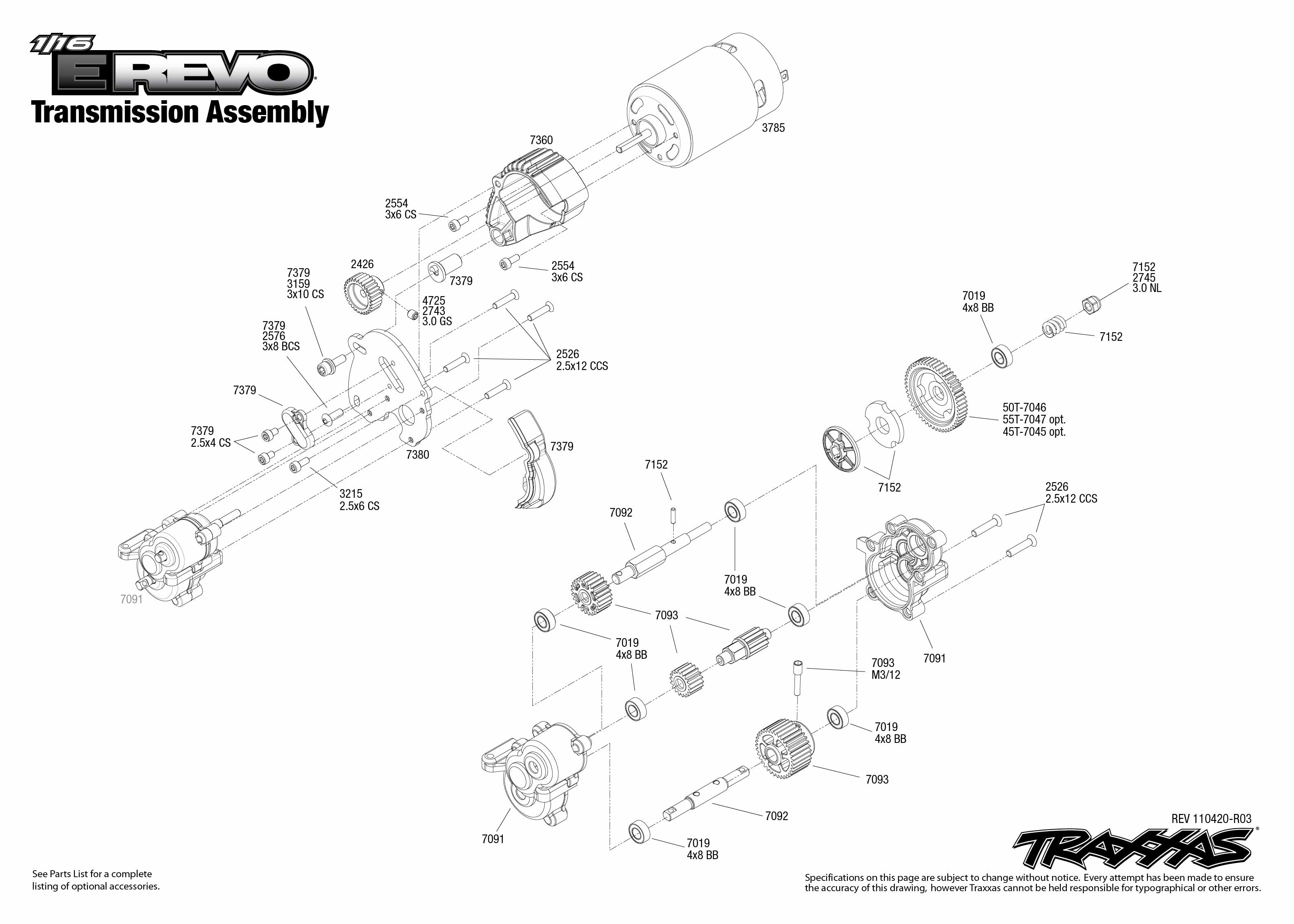 7105 Transmission Exploded View (1/16 E-Revo Brushed, w