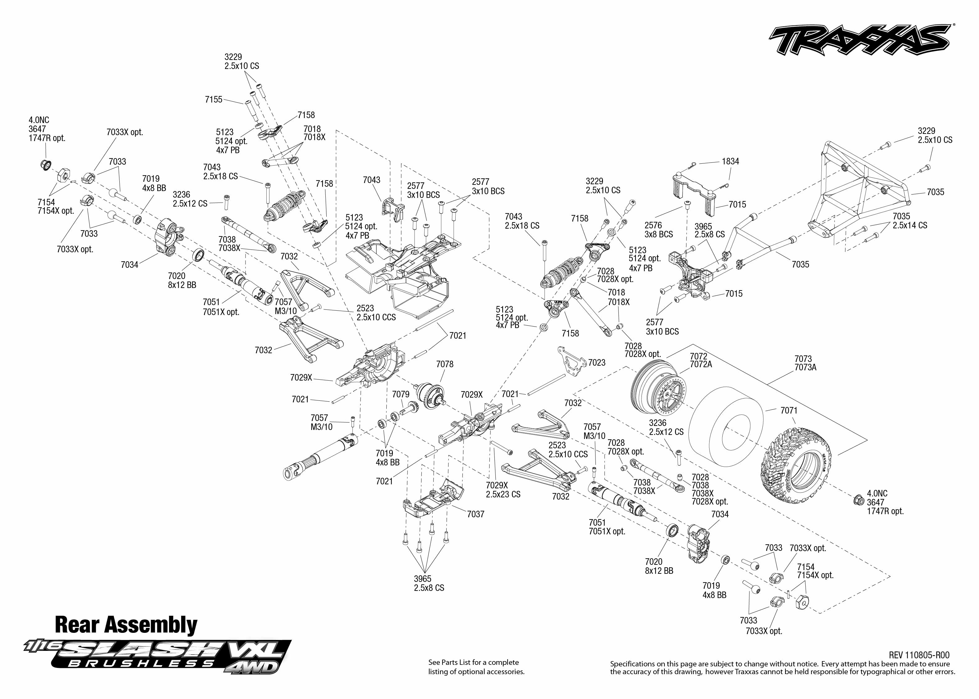 Traxxas Slash 2wd Rear Diagram