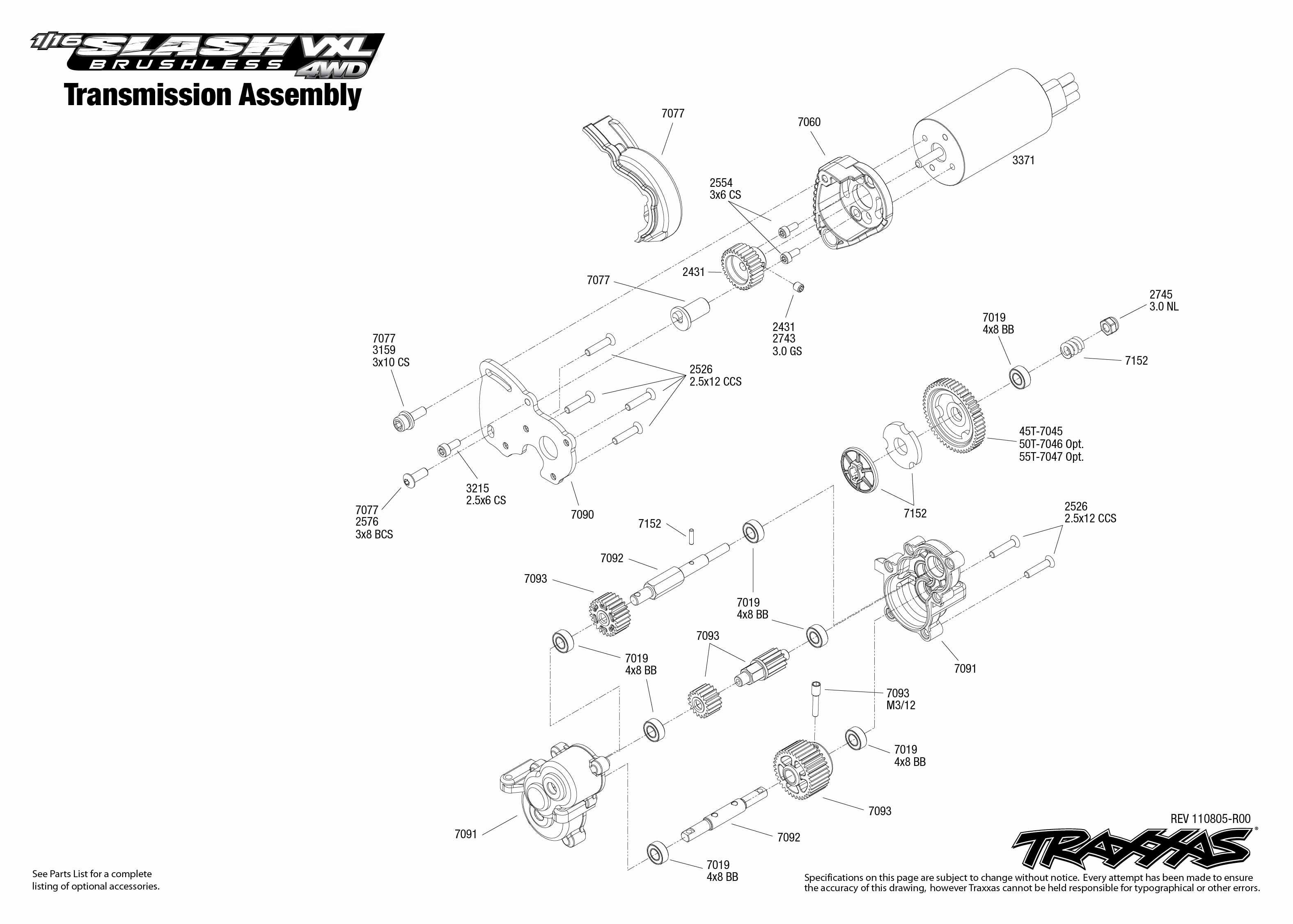 Transmission Exploded View 1 16 Slash 4x4 Vxl