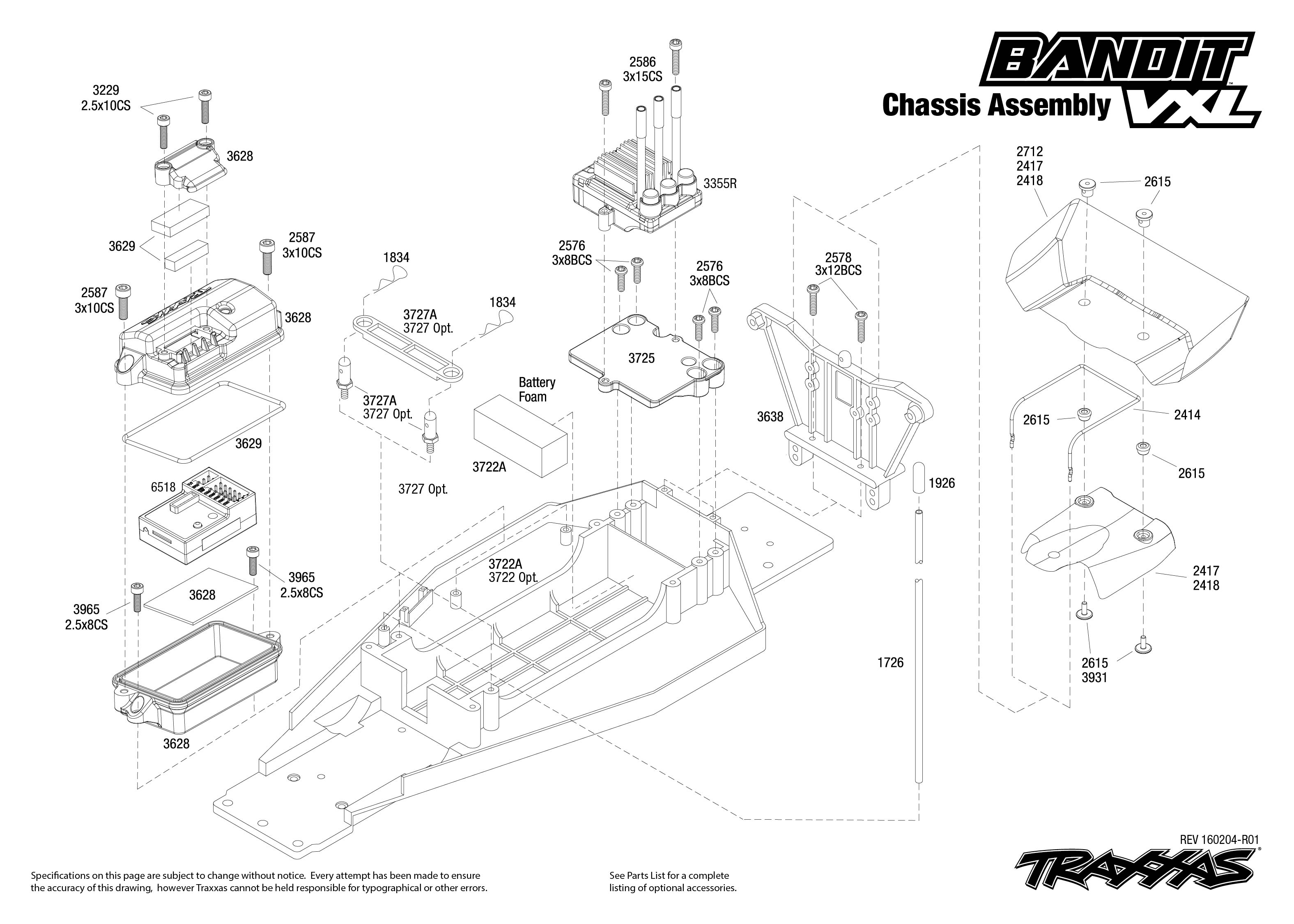 Bandit Vxl 1 Chassis Assembly Exploded View
