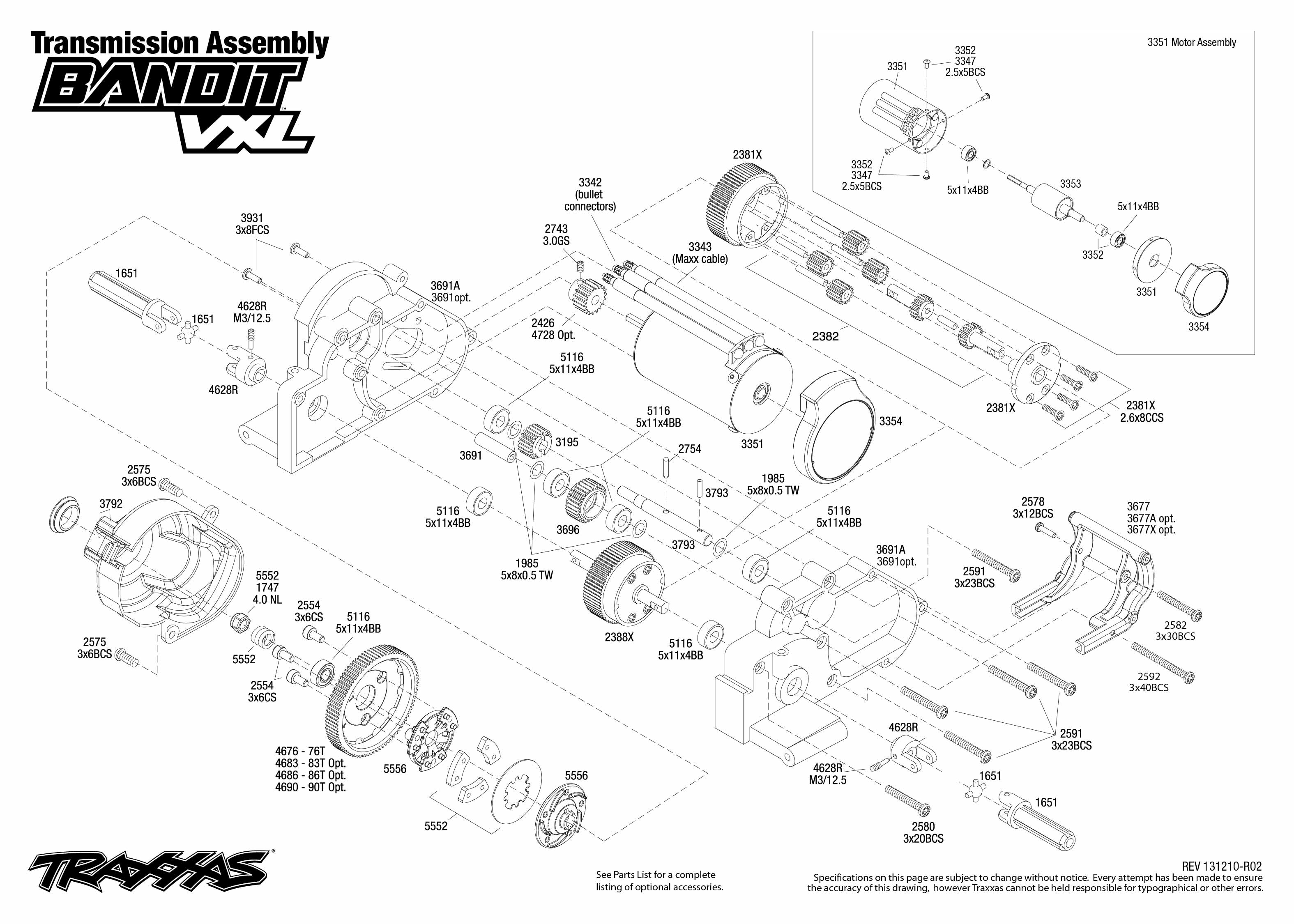 traxxas rustler vxl parts diagram delco remy distributor wiring 2407 transmission exploded view bandit