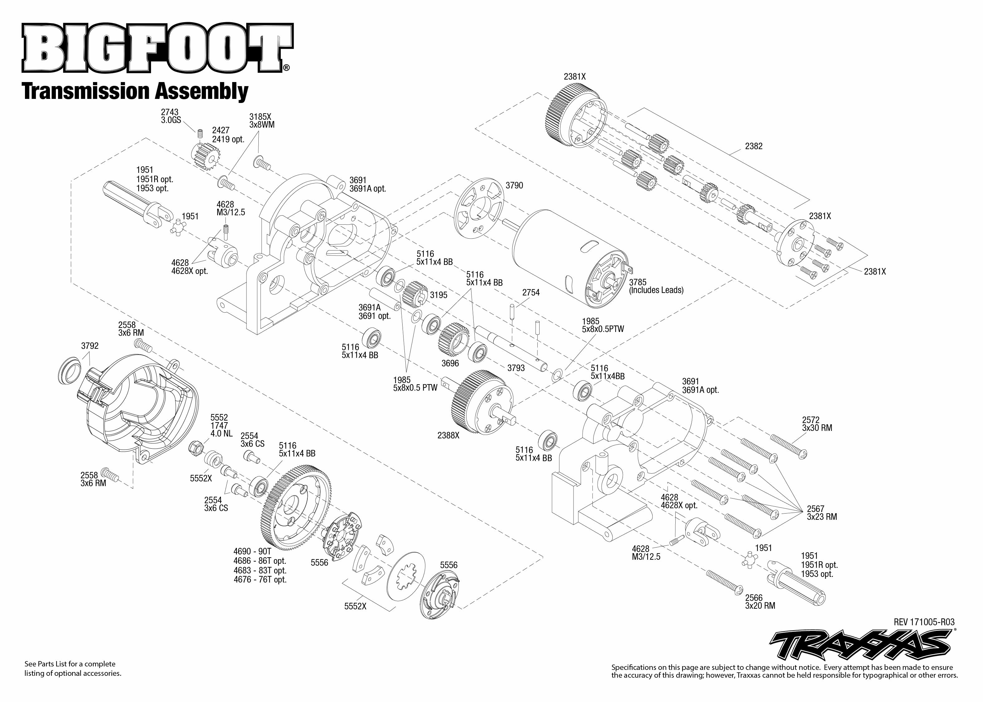 Bigfoot No. 1 (36034-1) Transmission Assembly Exploded